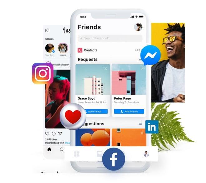 social media one click